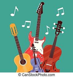 instrumenten, set, muzikalisch