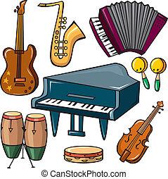 instrumenten, set, muzikalisch, iconen