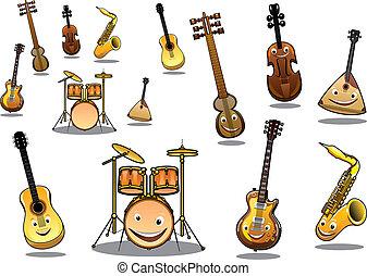 instrumenten, set, spotprent, muzikalisch