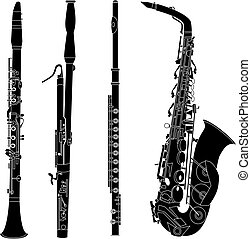 instrumenten, silhouettes, woodwind