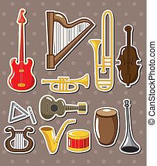 instrumenten, stickers, spotprent, muzikalisch