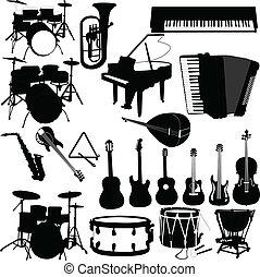 instrumenten, vector, -, muzikalisch