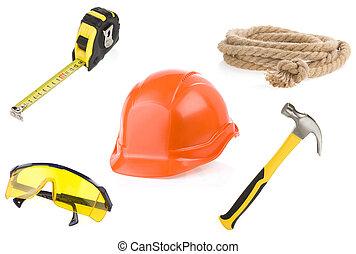 instrumenten, vrijstaand, gereedschap, set, witte