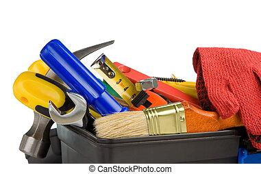 instrumenten, witte , set, gereedschap, vrijstaand