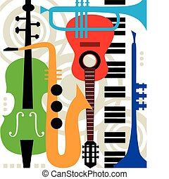 instrumenter, abstrakt, vektor, musik
