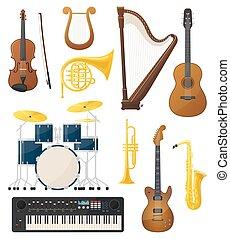instrumenter, lyre, guitar, det trommer, musik, violin