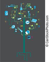 instrumento, árvore, musical, elemento
