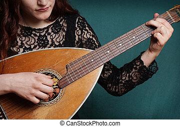 instrumento, alaúde, tocando, femininas, cadeia