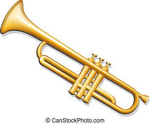 instrumento, bronze, musical, vento, trumpet.