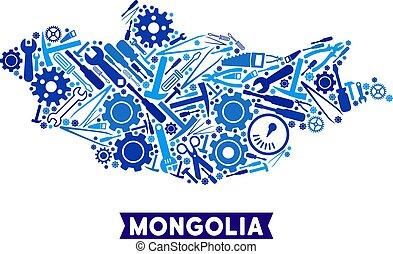 instrumento, composición, mongolia, mapa