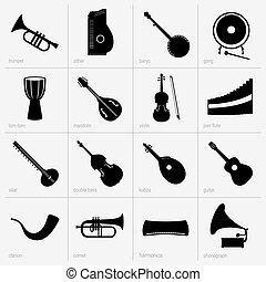 instrumento, conjunto, musical, iconos
