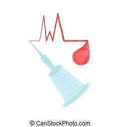 instrumento, donación, cannula, sangre de dibujo