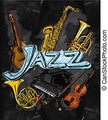 instrumento, jazz, pintura