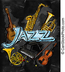 instrumento, jazz, quadro