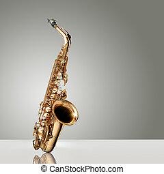 instrumento, jazz, saxófono