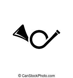instrumento, latón, trumpet., tela, señal, icono, negro, ui...