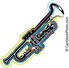 instrumento música, vetorial, ilustração