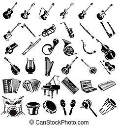 instrumento, negro, música, iconos