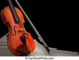 instrumento, notas, musical, ¿?, violín