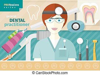 instrumento, odontólogo, local trabalho, uniforme