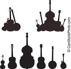 instrumento, silhuetas, musical