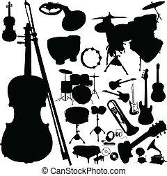 instrumento, siluetas, vector, música