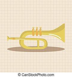 instrumento, tema, elementos, trompeta, caricatura