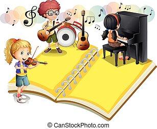 instrumento, tocando, musical, crianças