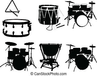 instrumento, vector, -, musical