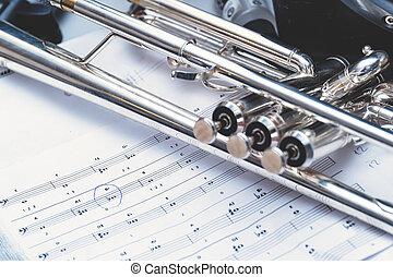 instrumento vento, trompete, e, notas