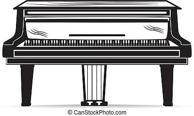 instrumento, vetorial, pretas, grandioso, branca, musical, piano
