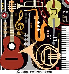 instrumentos, abstratos, musical