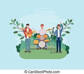 instrumentos, acampamento, grupo, tocando, homens