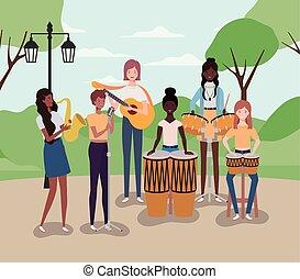 instrumentos, acampamento, grupo, tocando, mulheres