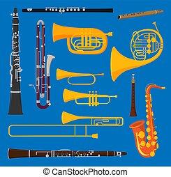 instrumentos, blare, trompeta, golpe, tubo, orquesta,...