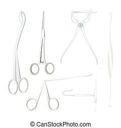 instrumentos, cirúrgico, jogo, fundo branco