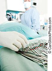 instrumentos, cirurgia, detalhe