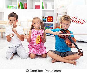 instrumentos, crianças, tocando, musical