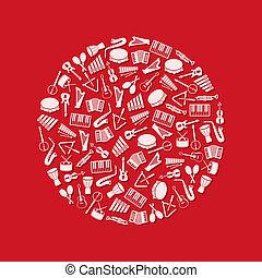 instrumentos de la música, iconos, en, círculo