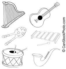 instrumentos, diferente, tipos, silhuetas, musical
