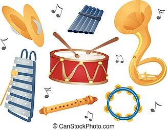 instrumentos, elementos, ilustração