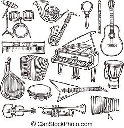 instrumentos, esboço, musical, ícone
