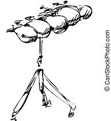 instrumentos, esboço, orquestra, percussão