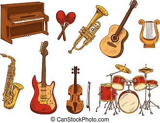 Instrumentos, Esboço,  retro, clássico,  musical