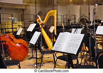 instrumentos, folha, musical, música