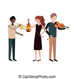 instrumentos, grupo, musical, pessoas
