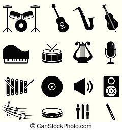 instrumentos, jogo, musical, ícone