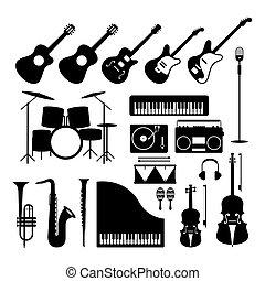 instrumentos, jogo, silueta, objetos, música