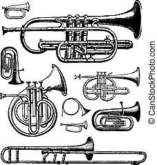 instrumentos, latón, vector
