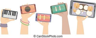 instrumentos, mãos, atolar, ilustração, digital